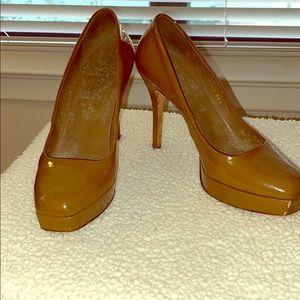 Gucci, dark beige patent, 4.25 heel, .75 platform